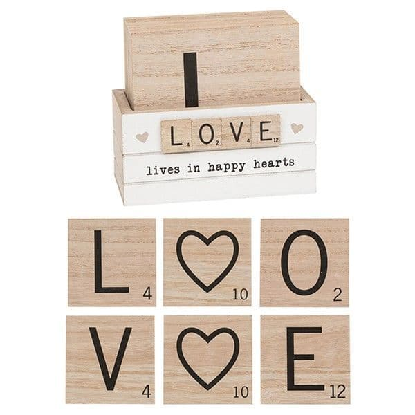 Set 6 Square Scrabble Style Love Wooden Heart Drink Mat Coasters & Holder 9x9cm